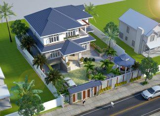 Thiết Kế Villa 2 Tầng Sân Vườn Mái Ngói Thái Thoáng Mát