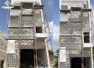 Thi công xây dựng nhà phố hiện đại mặt tiền 6m anh Phương