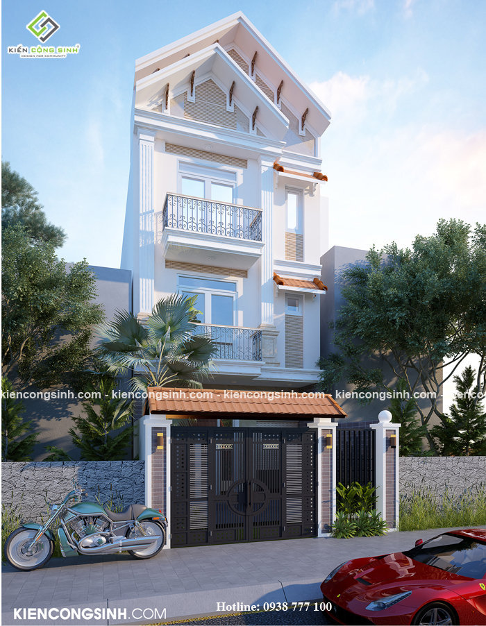 thiết kế nhà phố mặt tiền 5m