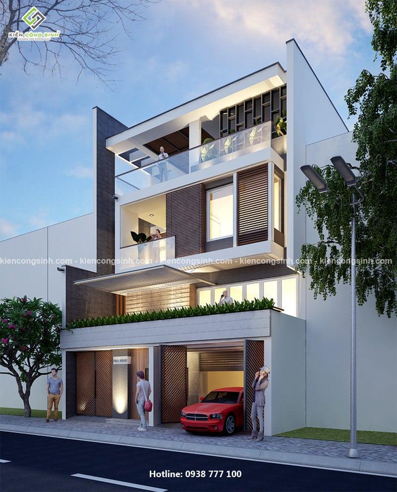 thiết kế biệt thự phố mặt tiền 10m