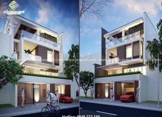 Thiết kế biệt thự phố 3 tầng mặt tiền 10m quận Tân Phú