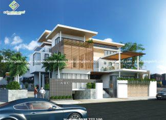 Thiết kế biệt thự villa kết hợp văn phòng làm việc tại Kon Tum