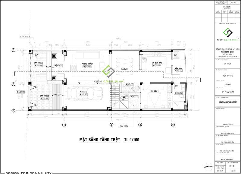 Thiết kế biệt thự phố 2 tầng