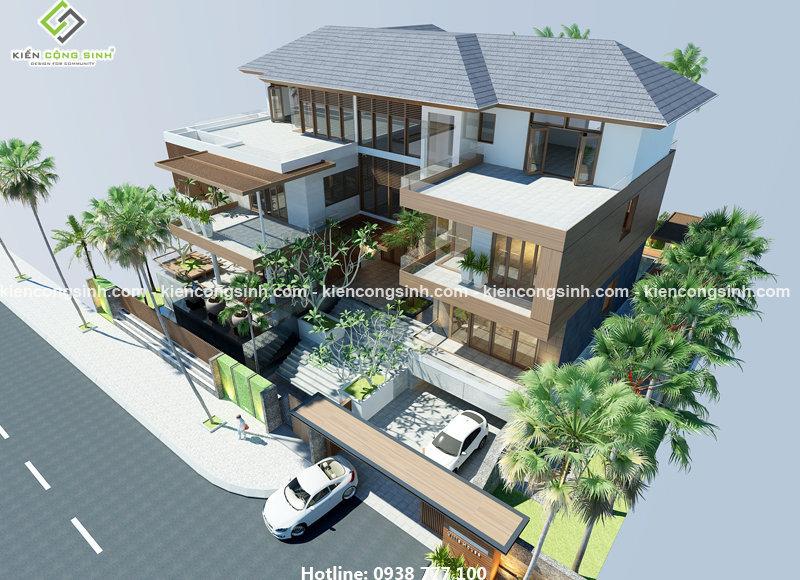 thiết kế villa biệt thự 3 tầng
