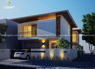 Thiết kế biệt thự villa 2 tầng mặt tiền 8m tại Vũng Tàu