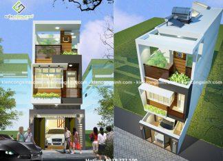 Thiết kế nhà phố mặt tiền 5m 3 tầng hiện đại tại quận 12