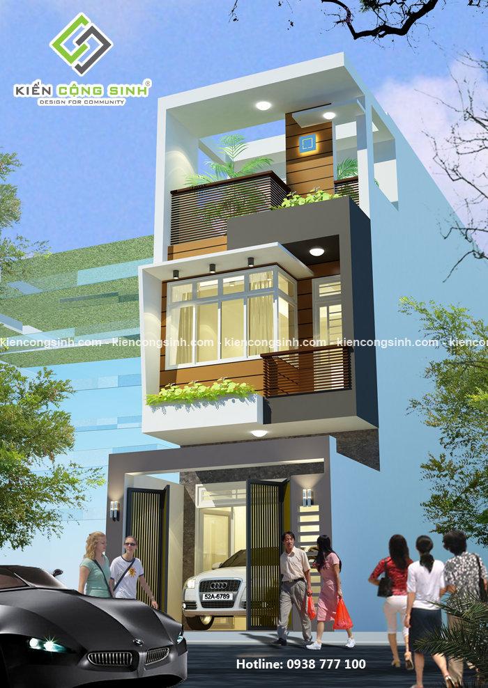 thiết kế nhà phố 3 tầng mặt tiền 5n