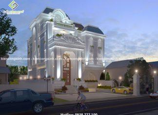 Thiết kế biệt thự cổ điển pháp 3 tầng anh Hữu tại Thủ Đức