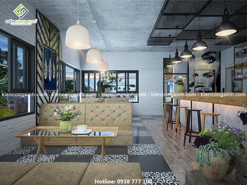 thiết kế quán cafe 24h kết hợp văn phòng