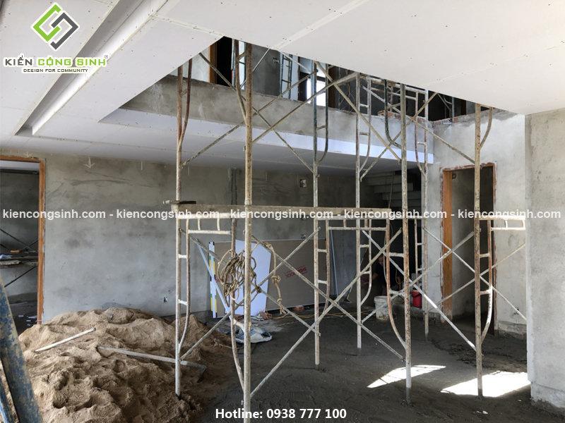 thi công xây tô hoàn thiện villa 2 tầng