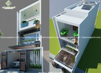 Thiết kế nhà phố 3 tầng mặt tiền 5m tại Thủ Đức