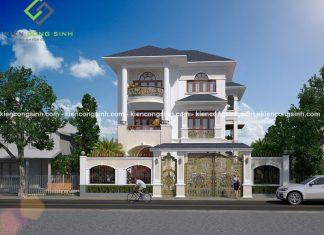 Thiết kế biệt thự tân cổ điển 3 tầng 2 mặt tiền tại Pleiku