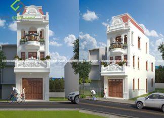 Mẫu thiết kế nhà phố tân cổ điển 3 tầng chị Quỳnh