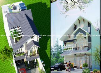 Mẫu thiết kế biệt thự 1 trệt 1 lầu mái thái tại quận 12