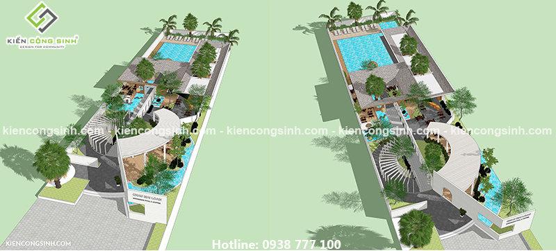 dự án thiết kế quán cafe và bể bơi
