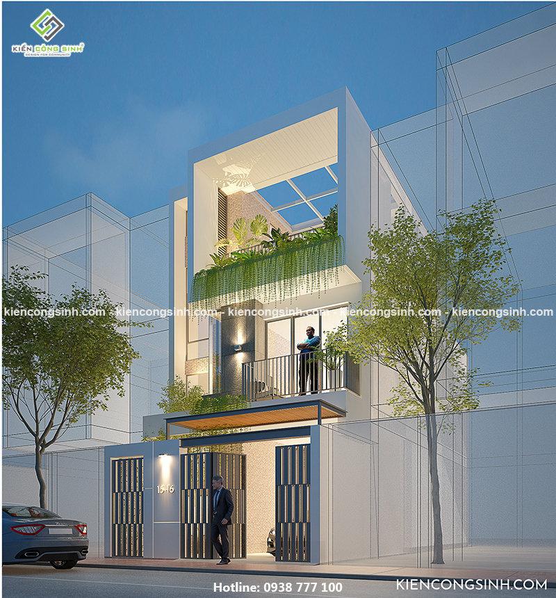 thiết kế nhà phố hiện đại 3 tầng