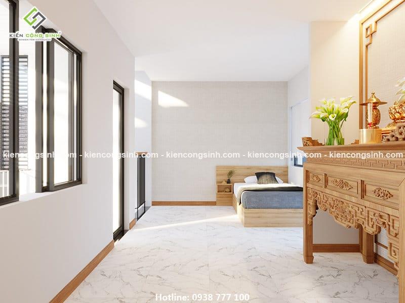 Thiết kế nội thất phòng thờ nhà phố 3 tầng