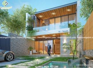 Thiết kế biệt thự phố 2 tầng 1 tùm tại Đồng Nai
