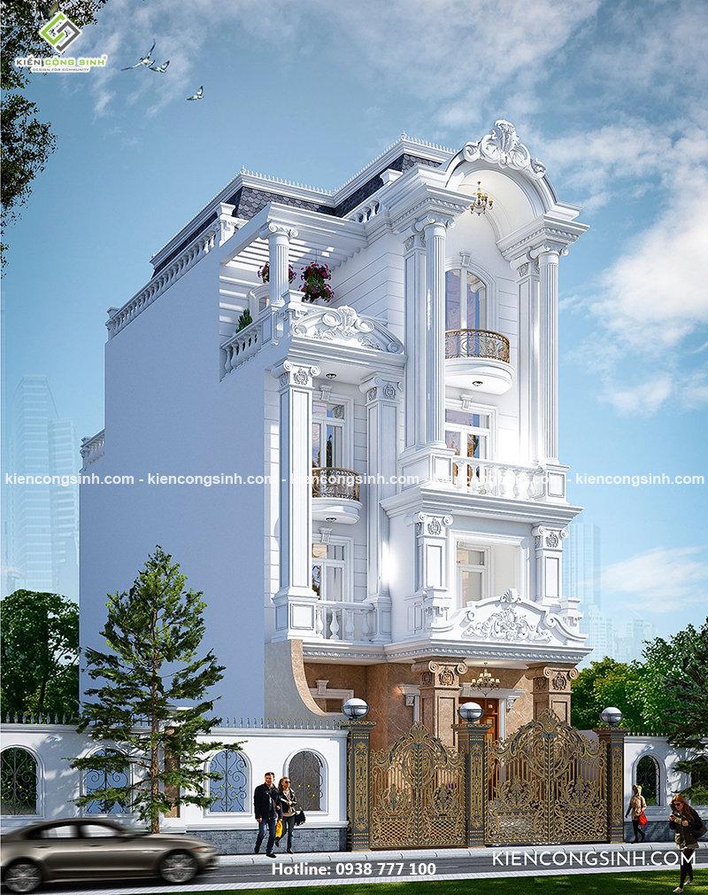 Thiết kế biệt thự cổ điển 4 tầng