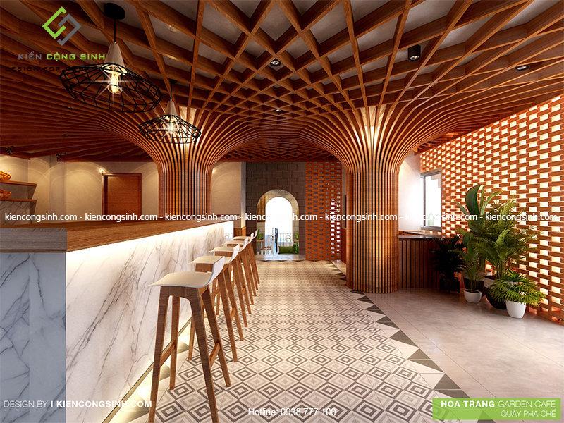 thiết kế nội thất quán cafe hoa trang
