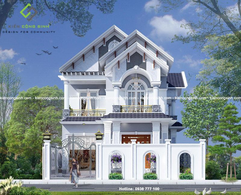 thiết kế biệt thự 2 tầng mái thái