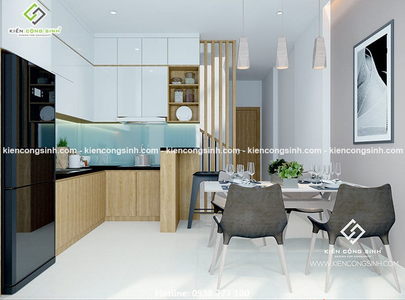 Thiết kế nhà phố 3 tầng phòng bếp