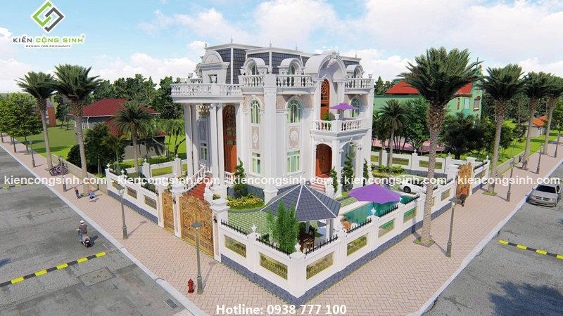 Thiết kế dinh thự 4 tầng đẹp