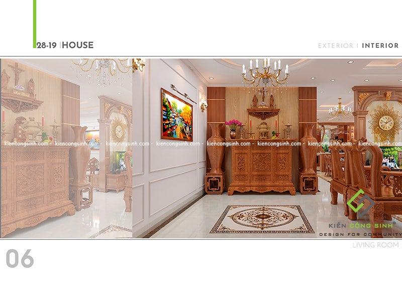 Thiết kế biệt thự cổ điển tại Đồng Nai Phòng Khách