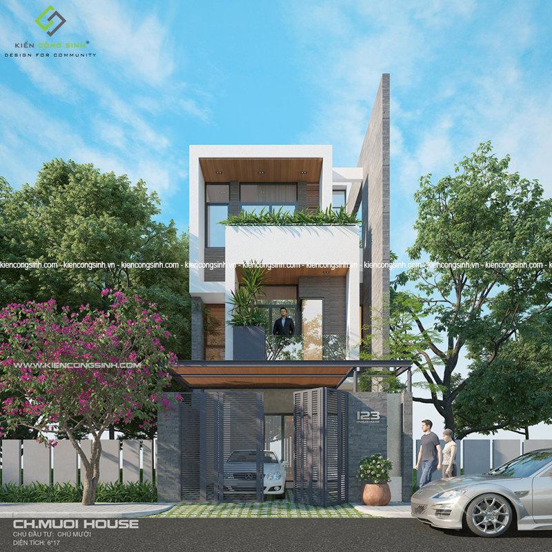 thiết kế nhà phố 2 lầu hiện đại