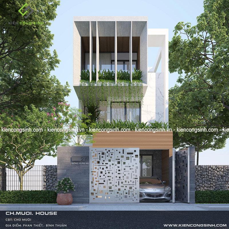 Thiết kế nhà phố hiện đại mặt tiền 6m