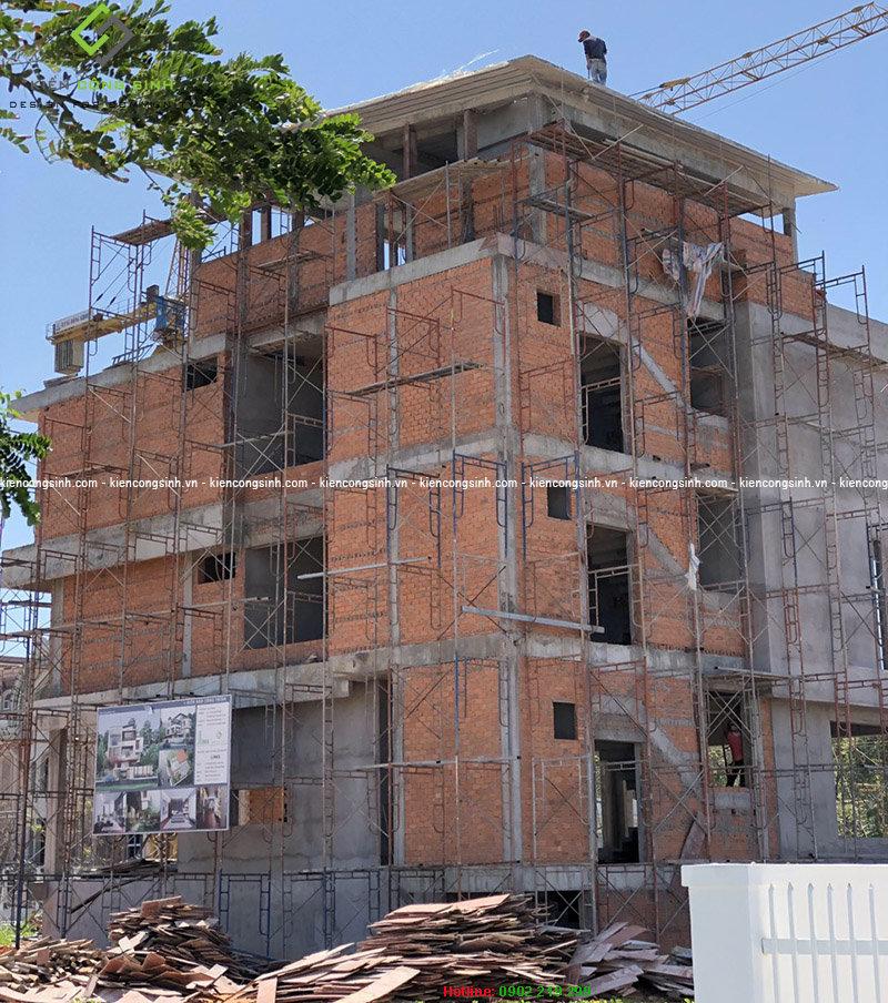 thi công phần thô villa hiện đại 3 tầng