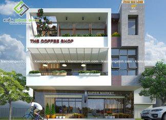 Thiết kế quán cafe kết hợp siêu thị tại Long Khách