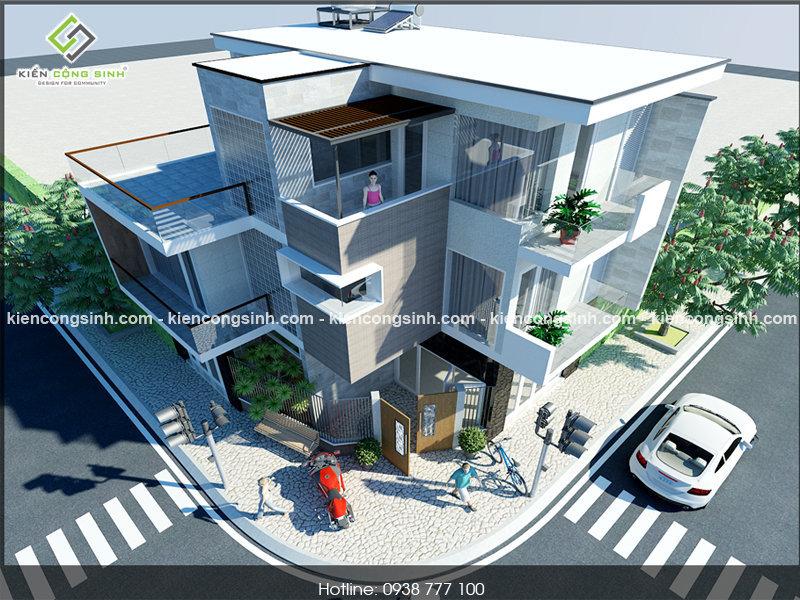thiết kế nhà phố 2 tầng