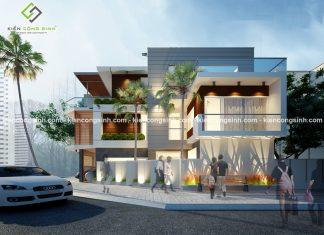 Thiết kế nhà phố hiện đại 2 mặt tiền tại Bình Dương
