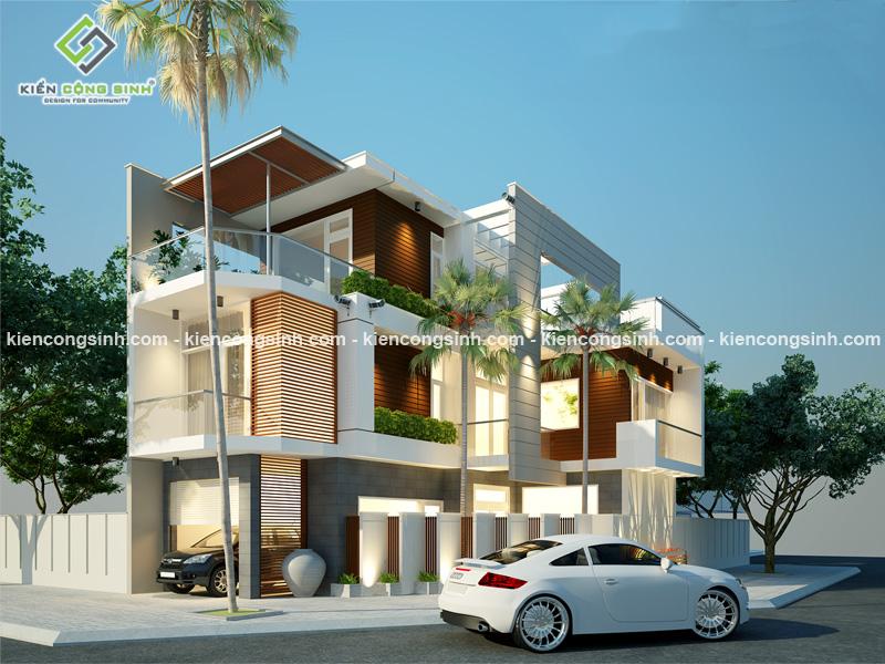 Thiết kế nhà  phố hiện đại 2 mặt tiền